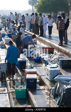 People at fish market Doha Qatar - Stock Photo