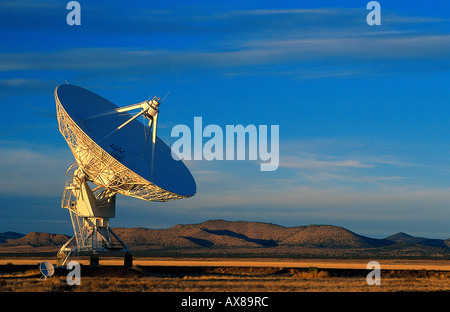 Radio telescope, satellite dish part of the radio astronomy observatory, Very Large Array, Plains of San Agustin, - Stock Photo