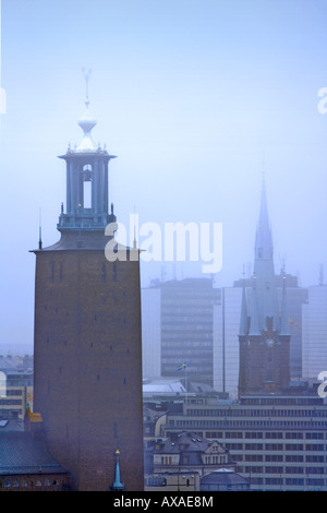 SWEDEN STOCKHOLM STOCKHOLM CITY HALL IN MORNING FOG - Stock Photo