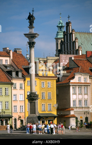 King Zygmunt's column in the Royal Square, Warsaw Poland - Stock Photo