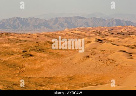 View across Wahiba Sands (Ramlat al Wahaybah) in Oman. - Stock Photo