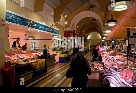 Fishmonger Stalls in the English Market, Built in 1786, Cork City, Ireland - Stock Photo