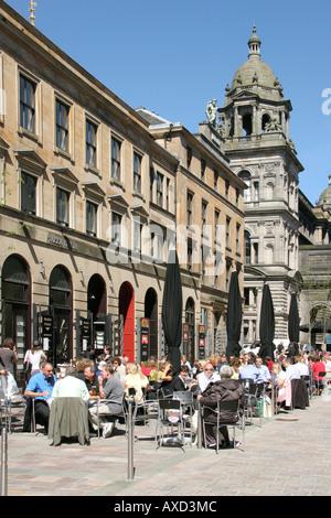 Cafe culture John Street ,Italian Centre, Glasgow ,Scotland - Stock Photo