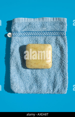 Washcloth and Soap, elevated view - Stock Photo