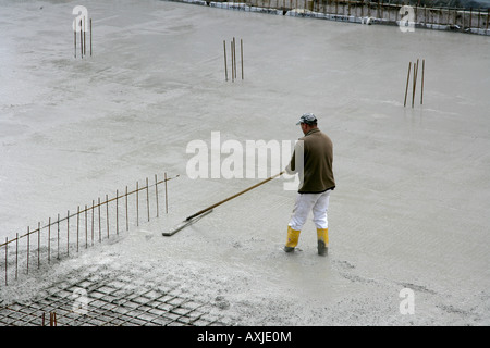DEU Germany Essen Concrete construction, foundation,  concrete surface Building of a house construction site of - Stock Photo