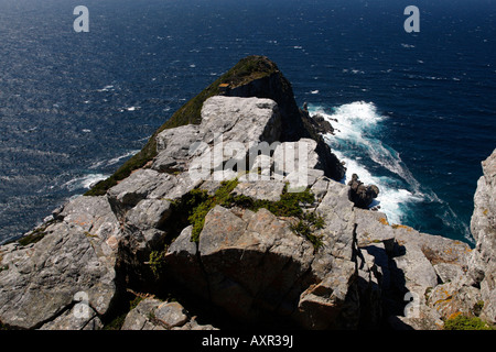 overlooking cape point from the lighthouse part of the table mountain national park cape town western cape province - Stock Photo