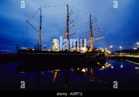 RRS Discovery at Night, Discovery Quay, Dundee, Scotland - Stock Photo