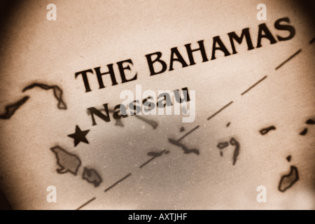 Close-up map of the Bahamas Islands - Stock Photo