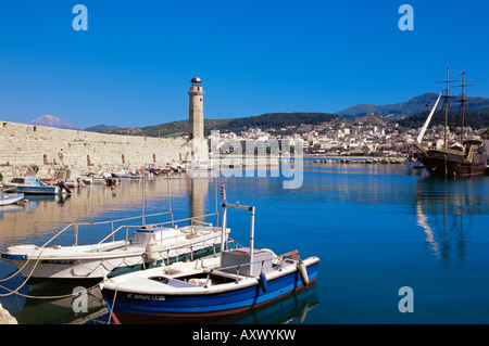 The old Venetian harbour, Rethymno, island of Crete, Greek Islands, Greece, Europe - Stock Photo