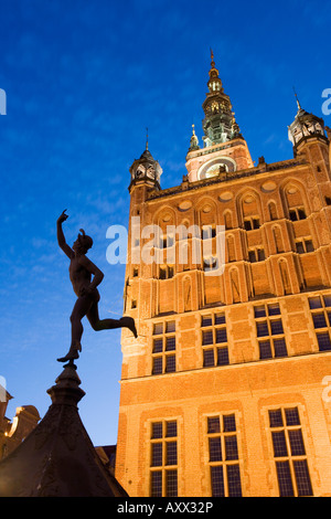 The Old Town Hall illuminated at dusk, Dlugi Targ (Long Market), Gdansk, Pomerania, Poland, Europe - Stock Photo