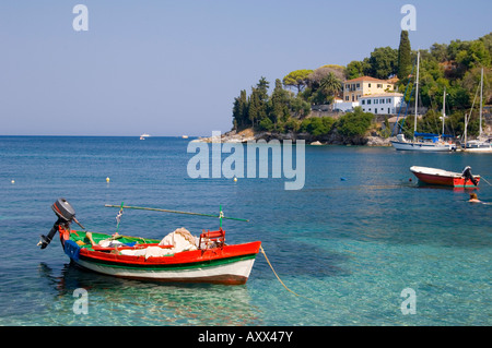 A colourful fishing boat in the harbour in Loggos, Paxos, Ionian Islands, Greek Islands, Greece, Europe - Stock Photo
