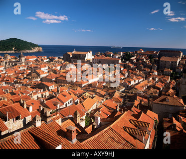 Elevated view of the town from the city walls, Dubrovnik, Dalmatia, Croatia, Europe - Stock Photo