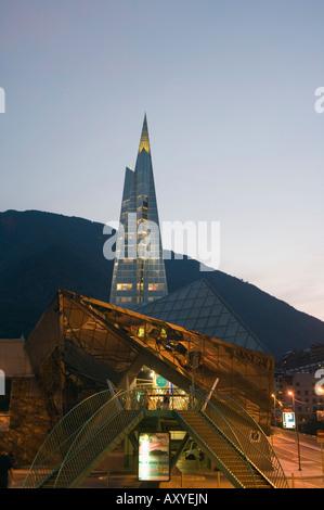 Caldea Hot Spring Complex lit up in the evening, Andorra La Vella, Andorra, Europe - Stock Photo