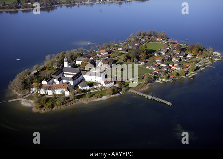 Frauenchiemsee, island in the Chiemsee, with the monastery Frauenwoerth, Germany, Bavaria, Frauenchiemsee Fraueninsel - Stock Photo