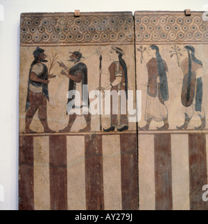 fine arts, ancient world, Etruscans, painting, procession, Boccanera plate, wall covering of a tomb, circa 750 BC, - Stock Photo