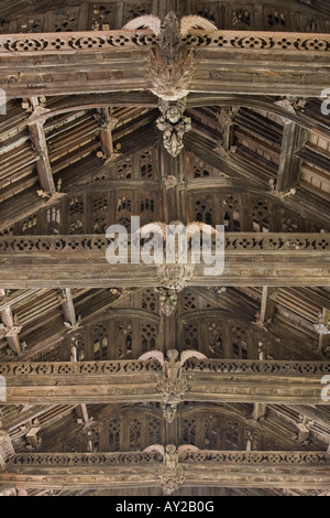 The ornate roof in the parish church of St Mary the Virgin at Westonzoyland in Somerset - Stock Photo