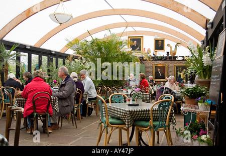 English garden cafe interior - Stock Photo