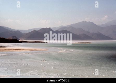 Lake Assal, a salt lake 120 metres below sea level in the Danakil Depression in Djibouti - Stock Photo