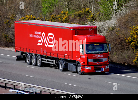 Norbert Dentressangle lorry on M40 motorway, Warwickshire, UK - Stock Photo