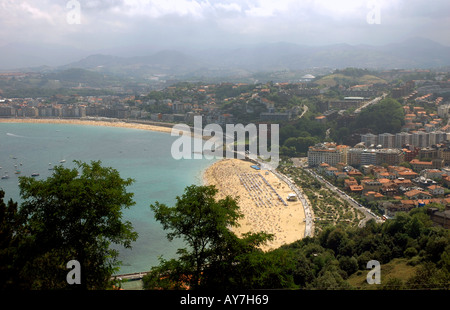 Panoramic View of Bahia de la Concha San Sebastian Donostia Basque Country Bay of Biscay Golfo de Vizcaya Spain - Stock Photo
