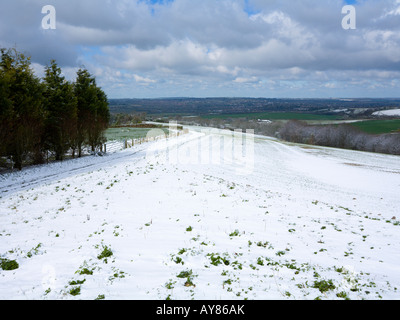 Snow at Cheesefoot Head in the South Downs Hampshire UK - Stock Photo