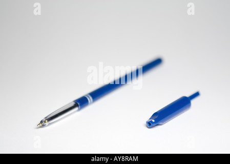 Ballpoint pen with cap removed, close-up - Stock Photo