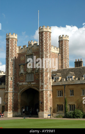 Great Gate at Great Court in Trinity College, Cambridge, UK - Stock Photo