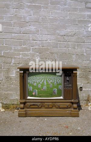 Veterans Cemetery on old style American TV set - Stock Photo