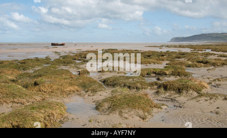 Red Wharf Bay beach at low tide, Anglesey, north Wales, United Kingdom - Stock Photo