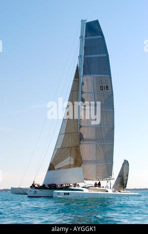 Port Huron to Mackinac Island Michigan MI annual sailboat race on Lake Huron - Stock Photo