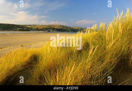 Barmouth beach from other side of the estuary Wales UK Europe - Stock Photo