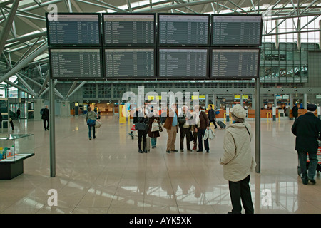 Time table at at Hamburg International Airport Hamburg Germany Europe - Stock Photo