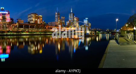 Panorama of Melbourne Waterfront on Yarra river - Stock Photo