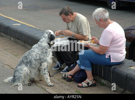 couple of holiday makers with dog sitting on wall eating fish and chips, Cromer, England, UK - Stock Photo