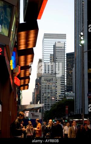 GENERAL STREET SCENE ON CORNER OF 42ND STREET TIMES SQUARE MIDTOWN MANHATTAN NEW YORK CITY UNITED STATES OF AMERICA - Stock Photo