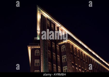 Chilehaus Building at night, downtown Hamburg, Germany, Europe - Stock Photo