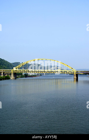 The Fort Pitt bridge over the Monongahela river in Pittsburgh Pennsylvania - Stock Photo