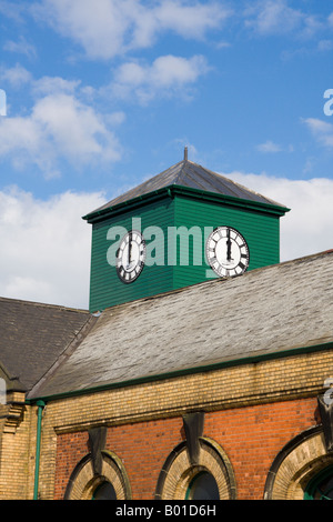 Clock above Pump House, Thompson Graving Dock, Harland & Wolff Shipyard, Belfast - Stock Photo
