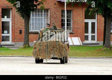 A recce or scout team of the Belgian Army in their VW Iltis jeeps in action. - Stock Photo