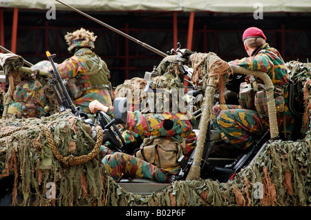A recce or scout team of the Belgian Army in action. - Stock Photo