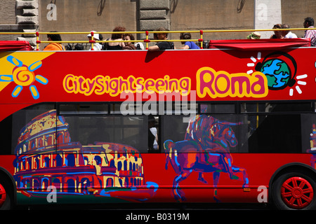 Italy, Lazio, Rome, Colosseum, Touirists In Sightseeing Tour Bus - Stock Photo