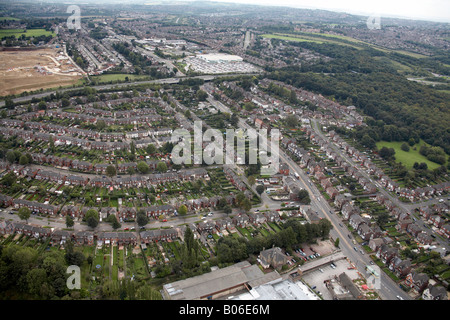 Aerial view south east of suburban housing construction site Asda Supermarket A630 and Handsworth Road Sheffield - Stock Photo