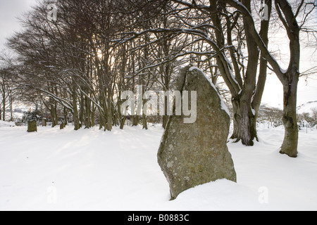 Clava Cairns in snow Inverness - Stock Photo