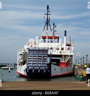 Wightlink Company RoRo Ferry Cenwulf Approaching Yarmouth Isle of Wight UK - Stock Photo