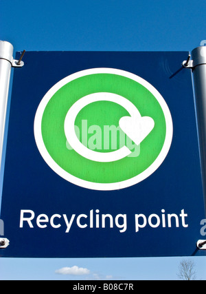 Bold recycling point sign in Chippenham UK - Stock Photo
