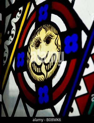 Stained glass window in Oran Mor, Glasgow. - Stock Photo