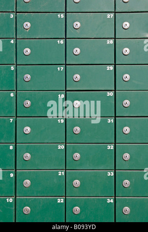 Green mailboxes, Moraira, Alicante, Costa Blanca, Spain - Stock Photo