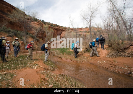 USA - Utah. Hikers in Grand Staircase - Escalante National Monument. - Stock Photo