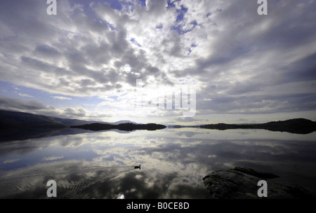 LOCH LOMOND IN SCOTLAND WITH EARLY MORNING CLOUD AND A DUCK SWIMMING PAST. - Stock Photo