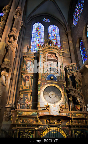 Astronomical clock, Notre-Dame gothic cathedral 14th century, Strasbourg, Alsace, France - Stock Photo